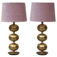 Pair of Swedish Brass Table Lamps by Tranås Stilarmatur, 1960s