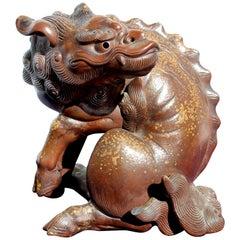 19th Century Japanese Earthenware Foo Dog Lion Dragon