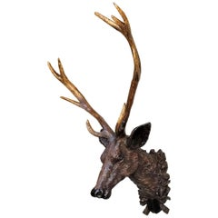19th C Black Forest Stag Head Antler wall mount deer Sculpture Statue LA antique