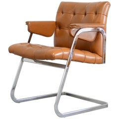 Robert Haussmann De Sede RH 305/ 304 UNESCO Softpad Chair Cognac
