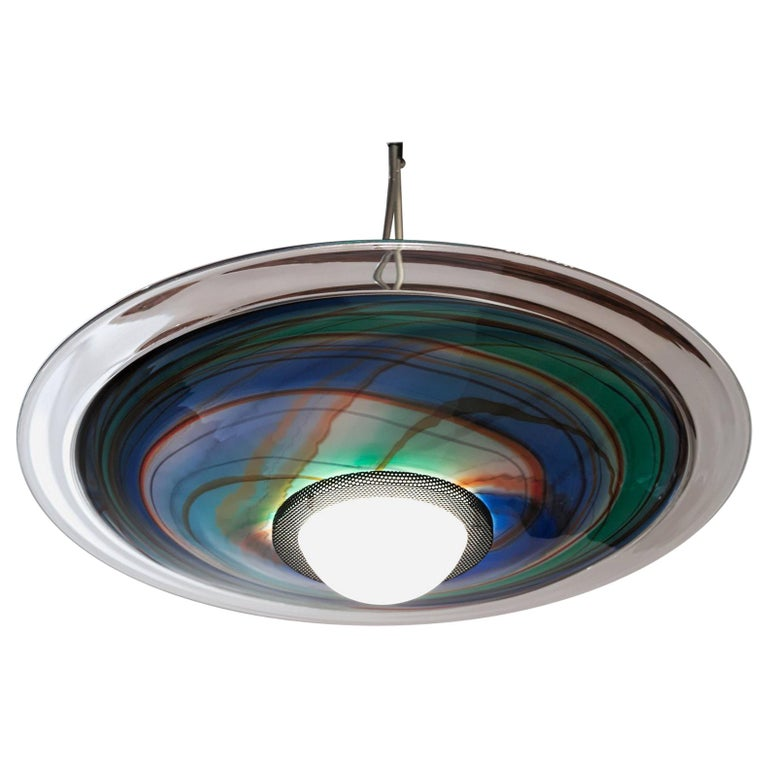 Missoni, Halogen Chandelier with Incalmo and Calcedonia Murano Glass, 1980s For Sale