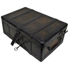 18th Century Wrought Iron and Wood Strong Box