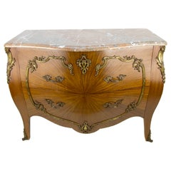 French Louis XV Style Marble Topped Bronze Mounted Commode