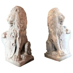 Pair 18th C. Carved Marble Terracotta Figures Lions Sculptures Garden Statues LA