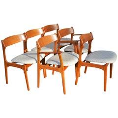 Rare Set 6 Danish Teak Dining Chairs by Erik Buch, Teak Backrests & 2 Armchairs