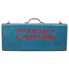 Midcentury Hand Painted Metal Blue Toolbox, circa 1950