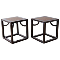Pair of Chinese Ebonized Stools or Drinks Tables