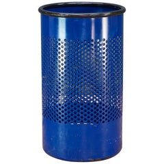 1980s Blue Perforated Metal Office Wastebasket Trash Can Italy Memphis Sottsass