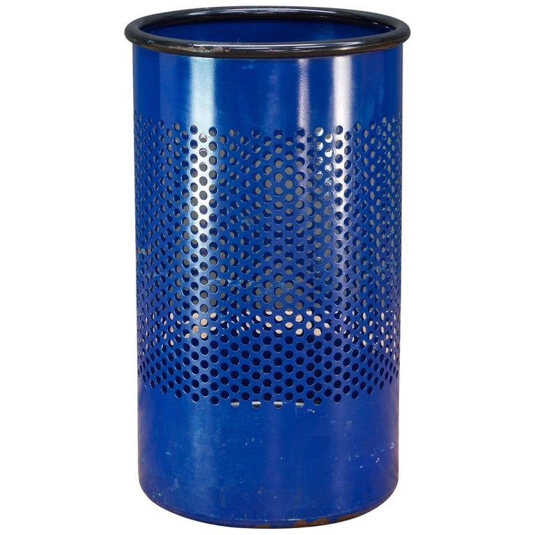 1980s Blue Perforated Metal Office Wastebasket Trash Can Italy Memphis Sottsass 1
