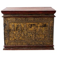 19th Century Burmese Gilded Chest or Trunk Table