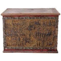 19th Century Burmese Gilt Mosaic Lacquer Trunk