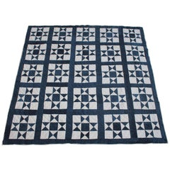 Antique Quilt, 19th Century Blue and White Contained Stars