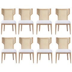 Quickship - Set of 8 Mid-Century Modern Cane Backed Dining Chairs in Solid Oak