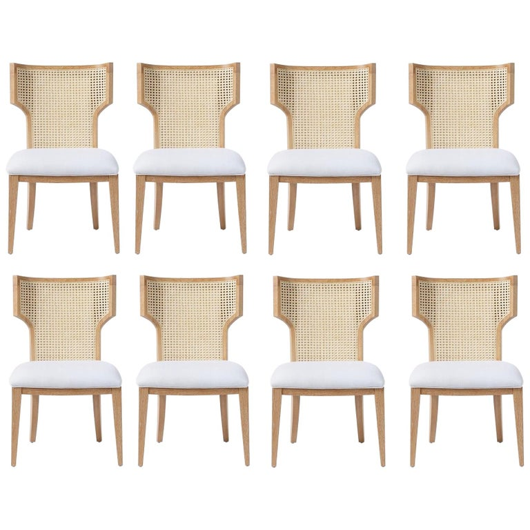 Quickship - Set of 8 Mid-Century Modern Cane Backed Dining Chairs in Solid Oak For Sale
