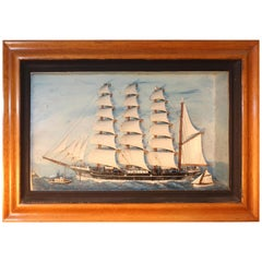 19th Century Nautical Antique American Sailing Ship Model within a Shadowbox