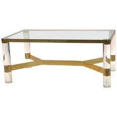 Karl Springer Lucite Coffee Table, Signed