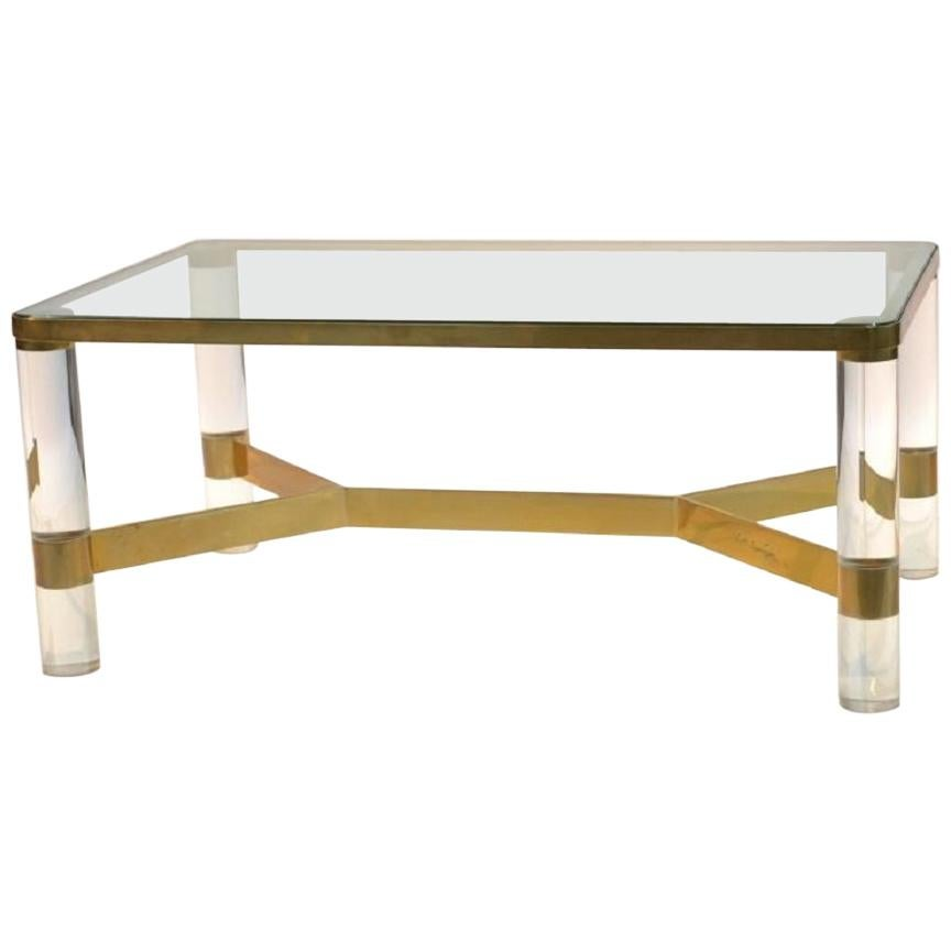 Incroyable Karl Springer Lucite Coffee Table, Signed For Sale