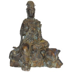 Antique Bronze Kwan Yin on Elephant