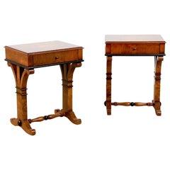 Pair of Biedermeier Style Burl and Ebonized End Tables or Nightstands