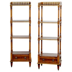 Pair of English Regency Style Mahogany and Burl Three-Tier Étagères