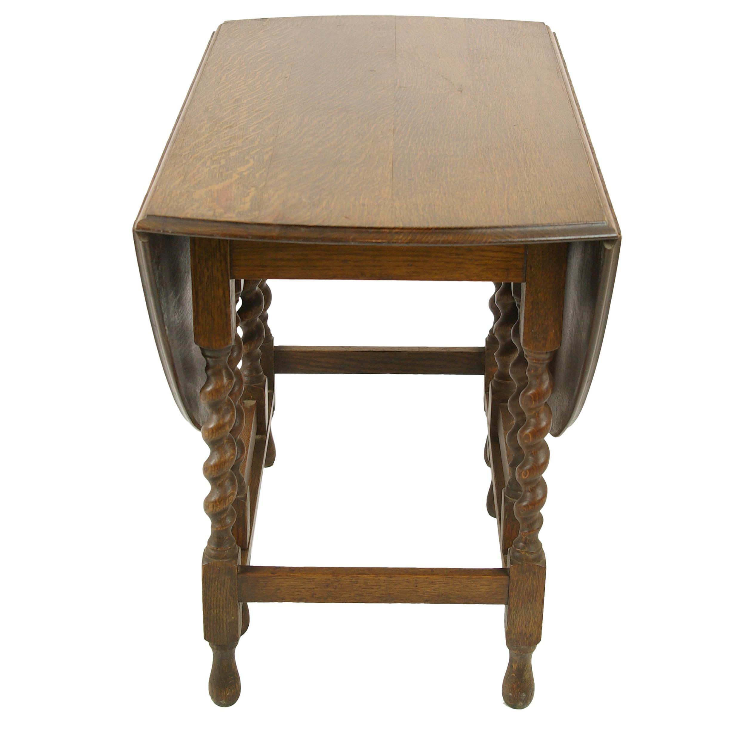 Antique Gateleg Table, Oak Barley Twist Oval Drop Leaf Table, B1418 For Sale