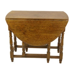 Antique Gateleg Table, Oak Oval Drop Leaf Table, Scotland 1920s, B1419