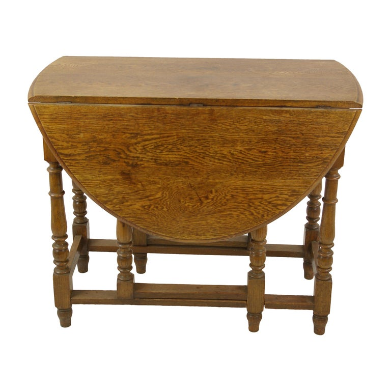 Antique Gateleg Table Oak Oval Drop Leaf Table Scotland 1920s B1419 For Sale At 1stdibs