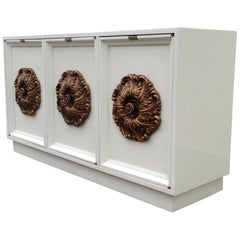 1960s James Mont Style White Lacquered Credenza