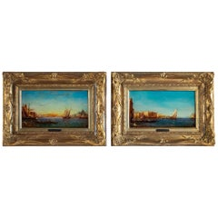 Alfred Bachmann, Pair of Oil on Panel Venice Views, circa 1890-1910