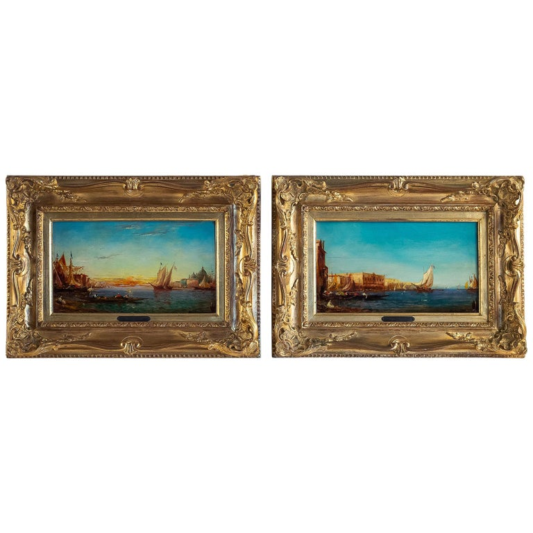 Alfred Bachmann, Pair of Oil on Panel Venice Views, circa 1890-1910 For Sale