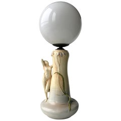 Art Nouveau Table Lamp with Nude Female Figurine Base in Stoneware