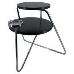 1930s Bauhaus Smoker Coffee Table Thonet B153 Chromed Tubular Steel Black Wood
