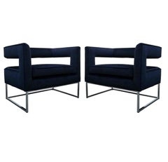 Pair of Minimalist Floating Back Cube Chairs in Blue Velvet