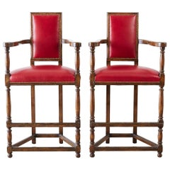 Pair of Dennis Leen Walnut and Leather Bar Stools