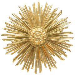 Large Wooden Sunburst Golden Wall Lamp, Italy, 1960s