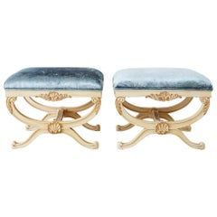 Pair of Curule Stool Benches with Velvet Upholstery