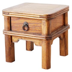 Diminutive Chinese Elm Square Stool with Drawer