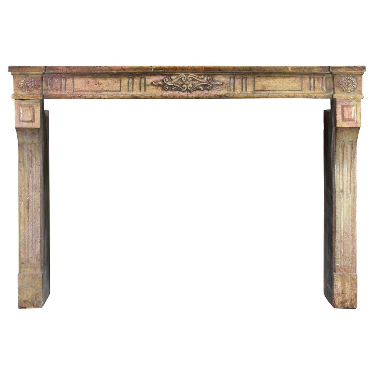 18th Century Fine French Marble Stone Classic Country Antique Fireplace Surround
