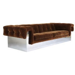 Elegant Milo Baughman Button-Tufted Chrome Sofa