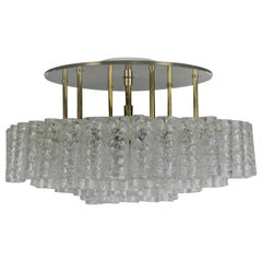 Vintage Doria Flush Mount Glass Tube Chandelier 97 Glass Parts, 1950s-1960s