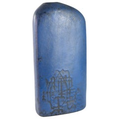 Early Lapis Blue Asymmetric Slab Vase by Marcello Fantoni, Italy, 1957