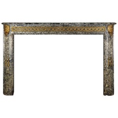 Grand Vintage Fine European Antique Fireplace Surround in Grey Marble