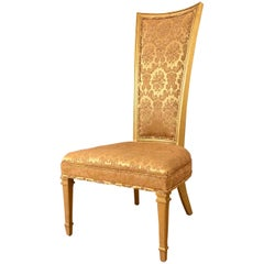 Statesville Hollywood Regency Louis XVI Giltwood High Back Chair