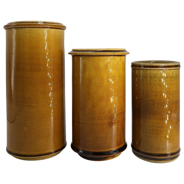 Set of Three Kähler Danish Midcentury Golden Ochre Ceramic Vases, 1950s For Sale