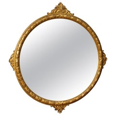 20th Century Round Carved an Giltwood Italian Mirror, 1950