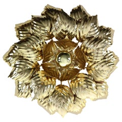 Brass Leaves Flush Mount Willy Daro, 1970s, Belgium