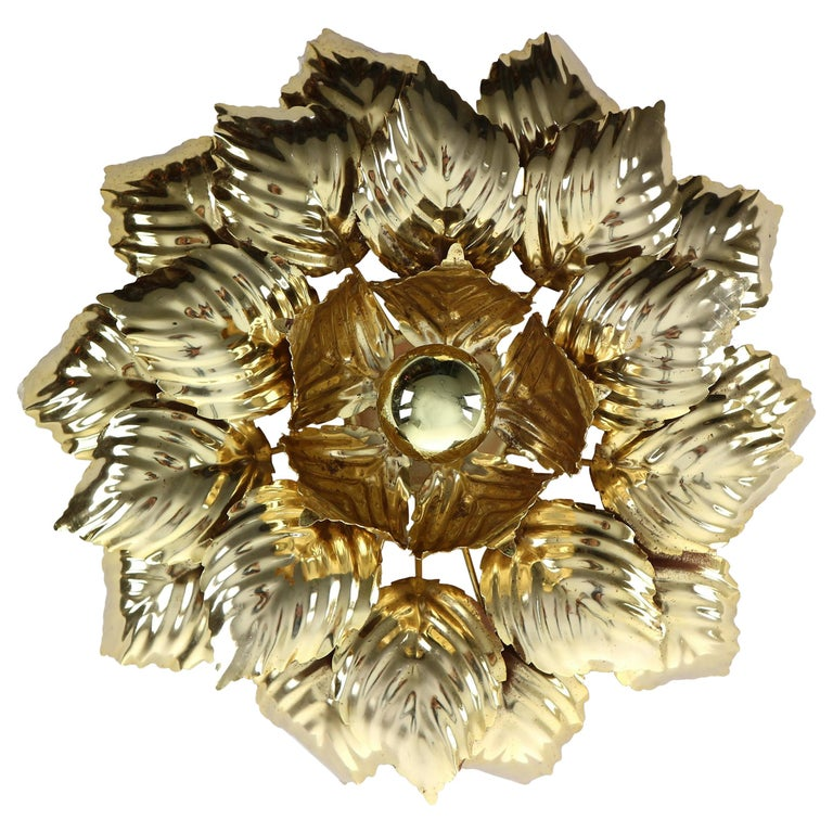 Brass Leaves Flush Mount Willy Daro, 1970s, Belgium For Sale