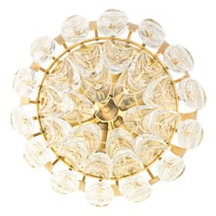 Vintage German Gilt Brass and Crystal Ceiling Lamp by Palwa, 1960s