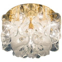 "Golden with Muranoglass Ceiling Lamp from J.T. Kalmar ""Catena"", Austria, 1970s"