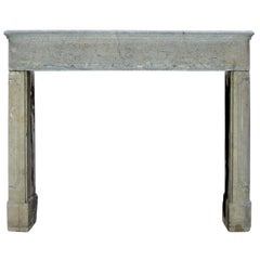 17th Century French Country Rustic Bicolor Stone Antique Fireplace Surround